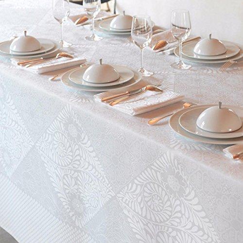 Le Jacquard Francais Nappe Bosphore Coton Blanc Rectangulaire 175 x 320 cm