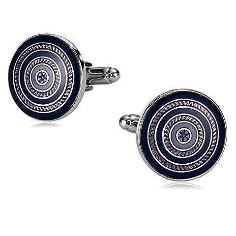 amdxd Jewelry Manschettenknöpfe Edelstahl für rund männlich gewirbelt blau violett 1,9x 1,9