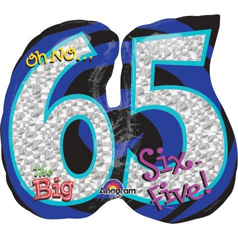 Amscan–283490126x 53,3cm Oh No Es Mi 65th cumpleaños Globos de papel de aluminio Super forma