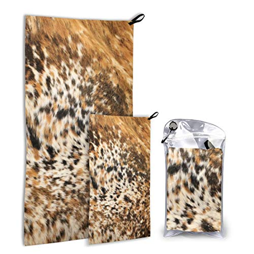 Quick Dry Microfiber Camping Towel Set For Hike, Travel, Camp, Backpacking - Large 140cm x 70cm - Small 80cm x 40cm - Soft, Super Absorbent, Free Carry Bag,Texas Long Horn Cow Animal Hide Prints