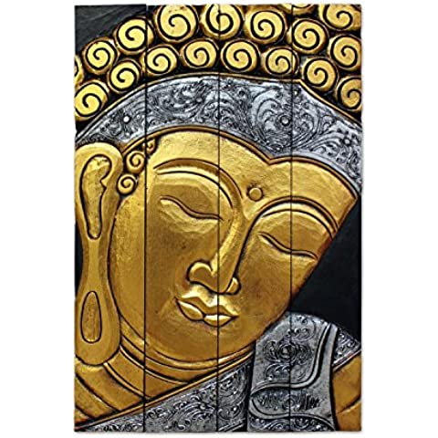 IMMAGINE 4pezzi, motivo: Buddha in legno oro argento marrone 50x 50cm grande, decorazione da parete moderna, artigianale in Bali