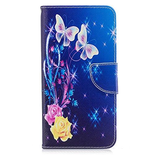 iPhone 6 Plus/6S Plus Coque, Voguecase Étui en cuir synthétique chic avec fonction support pratique pour Apple iPhone 6 Plus/6S Plus 5.5 (Papillon d'or 01)de Gratuit stylet l'écran aléatoire universel Roses et papillons