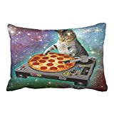 Xukmefat Custom DJ Galaxy Cat Pizza Stars Creative Design Decorative Pillowcases with Hidden Zipper Decor Cushion Covers Two Side 20x30 inches
