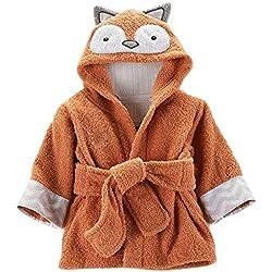 Minuya Bébé Garçon/Fille Mignon Animal Doux Peignoir en Coton Capuche Serviettes de Bain pour Bébé (Fox, 2-4 Ans)