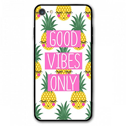 iPhone 7 Fall iPhone 8 Fall, Bedruckt Ananas Good Vibes Nur Soft TPU & PC Dünn zurück Schutzhülle Case für Apple iPhone 7 iPhone 8 - Schwarz, Ananas -