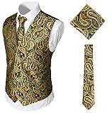 WHATLEES Herren Klassische Paisley Floral Jacquard Weste & Krawatte und Einstecktuch Weste Anzug Set BA0213-Gold-S