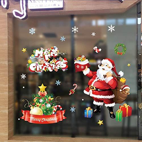 OIKAY Wandaufkleber Weihnachten Abnehmbare Wandaufkleber Schmuck Wand Glas Fenster Dekoration hausgarten küche zubehör dekorative aufkleber wandbilder (Blossom Lotus Schmuck)