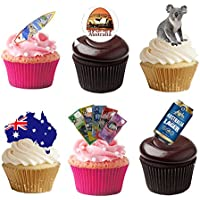 33 Stand Up Australia Aussie Themed Premium Edible Wafer Paper Cake Toppers Decorations