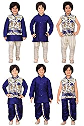 Jeet Boys Blue Silk Jacket-Kurta Pyjama and Dhoti Set