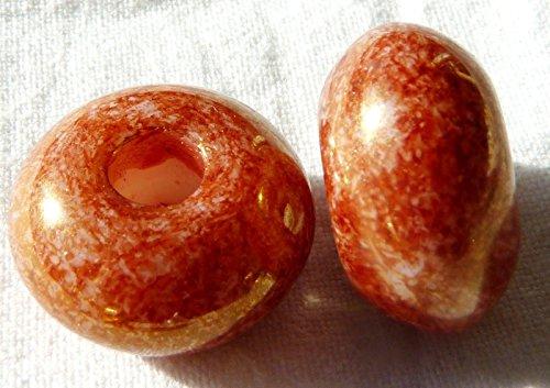 17(mm) donut bombata rondelle foro grande anello distanziale ceca perle di vetro-foro: 5mm-arancione Picasso-H018