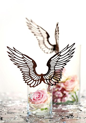 Metallmichl - Filigrane Rost Metall Flügel nach Oben zum Einhängen in Gläser klein - 15 cm Edelrost Deko Flügel
