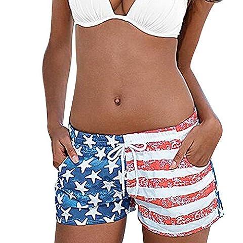 KEERADS les femmes drapeau américain shorts sexy un cordon beach