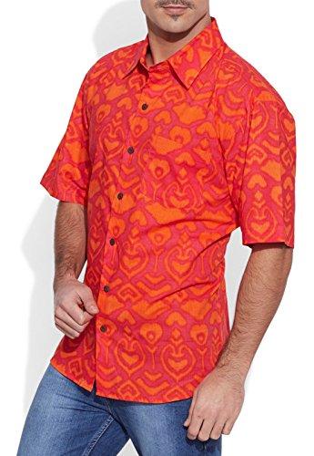 Shalinindia Herren Baumwolle Gedruckt Strand Shirt-Hälfte Ärmel-Fronttasche Tomato Rot