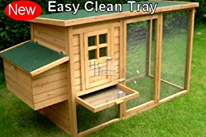 Windsor Large Chicken Coop Hen House Ark Poultry Run Nest Rabbit Hutch Box Suitable for up to 4 Birds - INTEGRATED RUN & CLEANING TRAY & INNOVATIVE LOCKING MECHANISM from Imperial Poultry