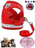 Z ZHIZU Hundegeschirr Reflektierend atmungsaktiv für große, mittelgroße, Mittlere & Kleine Hunde Geschirr Hund Katze Brustgeschirr Dog Harness (L, Reflektierend rot)