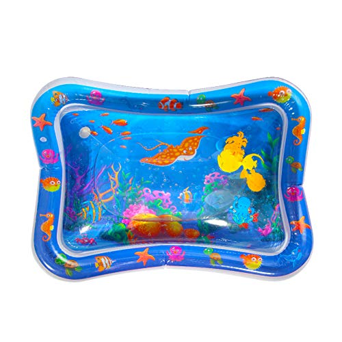 ThinkMax Baby Wassermatte, Tummy Time Aufblasbares Wassermatte BPA-freies Wasser-spielmatte Spielzeug for Baby