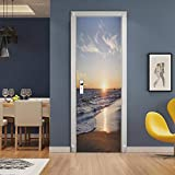 ZDDBD 3D Stickers Porte Interieure Trompe l'oeil Poster Mural Effet Décoration Coucher De Soleil sur La Mer Salon Cuisine Chambre Salle De Bain Papier Peint 90 * 200Cm