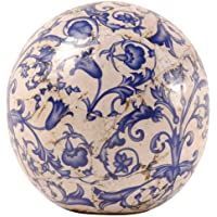 Esschert Design–Bola decorativa, Bola Jardín de cerámica en color azul de color blanco, varios tamaños