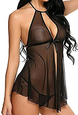 Lola Dola LDLDoll010 Black Baby Doll Lingerie Sleepwear Women Ladies Girls Nightwear Babydoll Sleepwear with G - String Panty (Free Size)