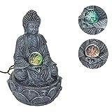 30 cm LED Zimmerbrunnen Brunnen m. Buddha Figur Buddhafigur Statue Glaskugel Bun