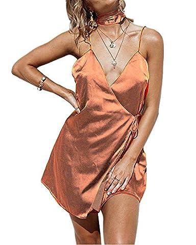 Minetom Women Ladies Summer Sexy Casual Loose Basic V Neck Backless Spaghetti Strap Cami Beach Shift Sleeveless Strappy Mini Dress Coffee UK