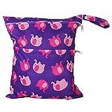 Ogquaton Tragbare Reise-Baby-Windel-Beutel-Elefant-Muster Wasserdichte Reißverschlusstasche waschbare Wiederverwendbare Babytuch-Windel-Beutel-Säuglingswindel-ändernde Beutel-Purpur