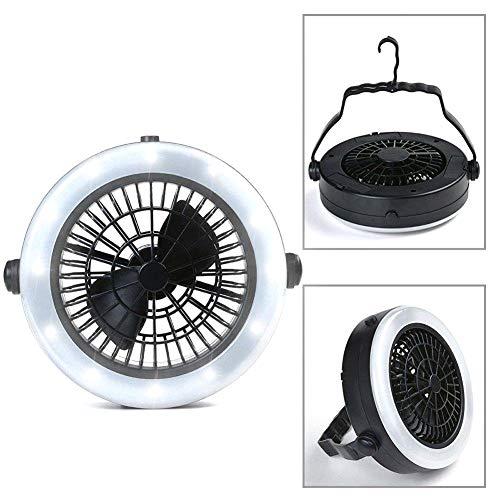 SDGDFXCHN Camping Fan mit Lichter tragbare wiederaufladbare LED Fan Licht Mini Luftkühler Outdoor Camping Zelt Lampe hängen Haken Laterne USB wiederaufladbare