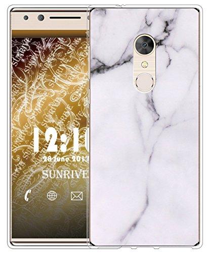 Sunrive Für Alcatel 5 Hülle Silikon, Handyhülle matt Schutzhülle Etui Case Backcover für Alcatel 5(TPU Marmor Weißer)+Gratis Universal Eingabestift