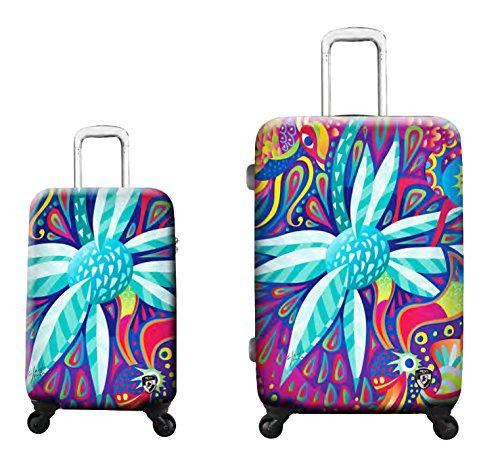 Kofferset, Gepäckset, Reisegepäck by Heys - Premium Designer Hartschalen Kofferset 2 TLG. - Künstler Limon Agave Sunshine Handgepäck + Koffer mit 4 Rollen...