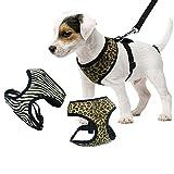 Sommer Atmungsaktives Hundegeschirr Brustgeschirr Sicherheitsweste Hunde Pet Control Gurt Weste Safety Weste aus Baumwolle Leopard L