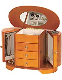 Mele & Co Large 'April' Burl & Oak Finish Wooden Armoire Style Jewellery Box