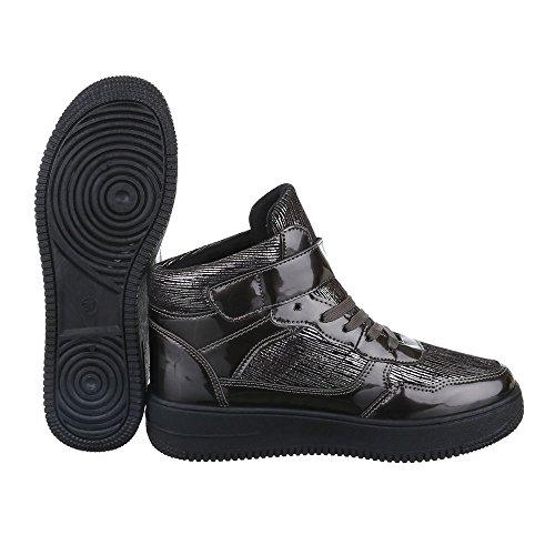 Sneaker Ital-design Sneaker Da Donna Con Tacco Alto E Zeppa / Scarpe Con Zeppa Lacci Scarpe Casual Grigie