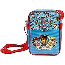 Bolso Bandolera de Niño de Paw Patrol - Practica bolsa cruzada de viaje y para el ocio con estampado Marshall Chase y Rubble - Bolso de hombro con cierre frontal de color azul - 18x12x6 cm - Perletti