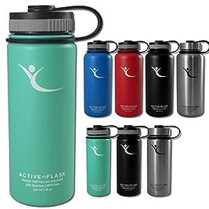 Trinkflasche ACTIVE FLASK von BeMaxx Fitness + 3 Trinkverschlüsse – Vakuum-isolierte Edelstahl Thermosflasche | BPA frei - 1l & 0,5l | Wasserflasche für Büro, Sport, Fahrrad, Outdoor – Kaffee & Tee (Aquatic Cyan | 530ml, 530ml)