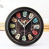 CWLLWC tischuhr standuhr,Kaminuhr Vintage alte Schwarze Holz Mode kreativ stereoskopische Metall Uhr (12 * 12cm)