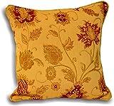 Paoletti Zurich Gold Floral Chenille Jacquard Cushion Cover Pair 55x55cm (Two Cushion Covers)