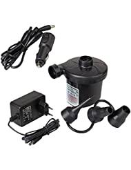 Elektrische Luftpumpe, Goodshop Elektropumpe inkl. 3 Aufsätze für Luftmatratzen, Schlauchboote, Gästebetten, oder Camping–Automatisches und schnelles Auf- und Abpumpen DC12V/AC220V.