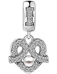 SOUFEEL Kristall Gefangene Herzen Ohrringe Ohrring Charms Beads Anhänger 925 Sterling Silber