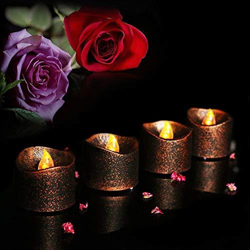 Mitlfuny Weihnachtsdekoration-2PCS Fake Teelicht Form LED Kerzen Batterie Betriebene Flammenlose FüR Hochzeiten, Weihnachten, Party, Abendessen, Schlafzimmer