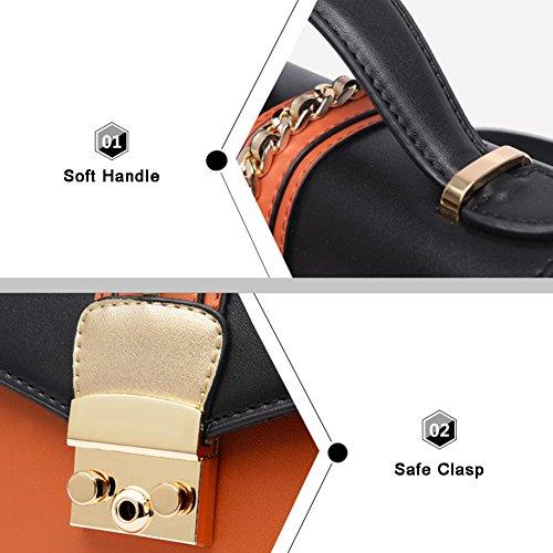 Stile di Yoome Stile Contrast Colore Flap Bag Chain Busta Borsa Per Donne Borse Polso Per Ragazze - Orange Rosso
