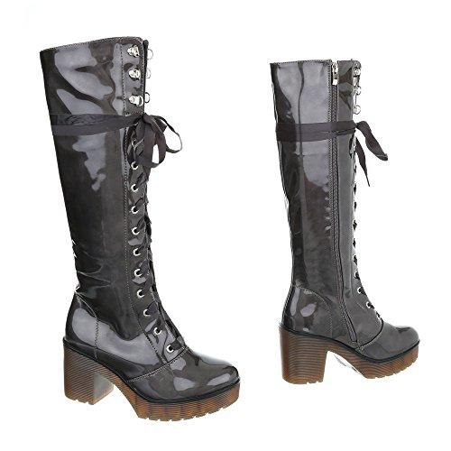Schnürstiefel Damenschuhe Schnürstiefel Blockabsatz Schnürer Reißverschluss Ital-Design Stiefel Grau
