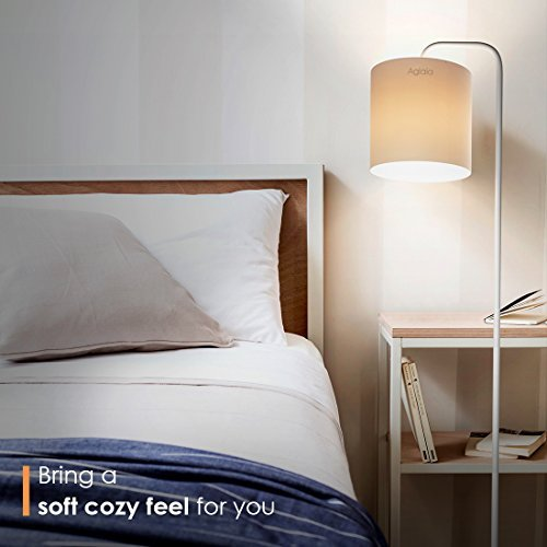 Aglaia piantana da terra a led, lampada da terra ad arco classica in metallo bianco con paralume in tessuto per sala da pranzo, salotto, ufficio o camera da letto ( lampadina inclusa)