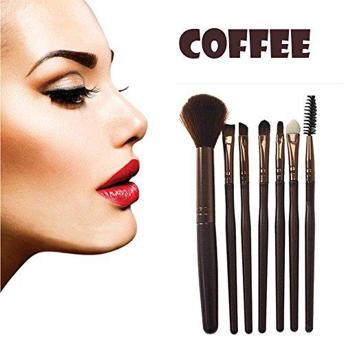 Sansee Pinceaux de maquillage 7 pièces Brosse de Maquillage Professionnel synthétique Fusion de fond de teint Concealer Eye visage liquide Poudre crème Cosmétique Pinceaux kit (Café)