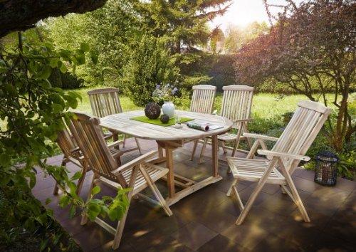 Teak-veranda-möbel (SAM® Gartengruppe, 7 teilig, Gartenmöbel aus Teak-Holz, 6 x Garten-Hochlehner, 1 x Auszieh-Tisch, Terrassen-Möbel aus Holz, Teakholz-Möbel, Massivholz-Möbel für Garten oder Terrasse [521418])