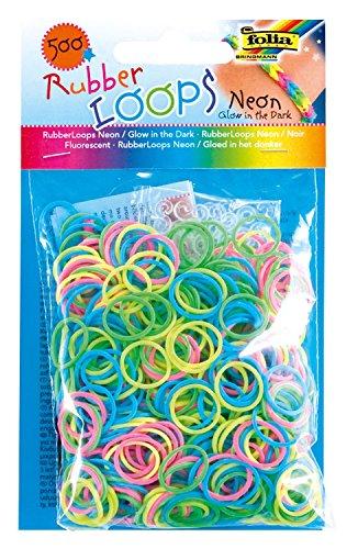 Folia 339599 - Rubber Loops glow in the dark, 500 Gummibänder, inklusive 25 stück - Clips und 1 Häkelnadel, neon