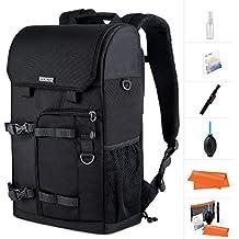 K&F Concept Sac a Dos Appareil Photo Camera Bag avec Compartiment Amovible et Housse Imperméable et Kit de Nettoyage Inclus pour Canon Nikon Sony Olympus Trépied Accessoires Noir KF13.075
