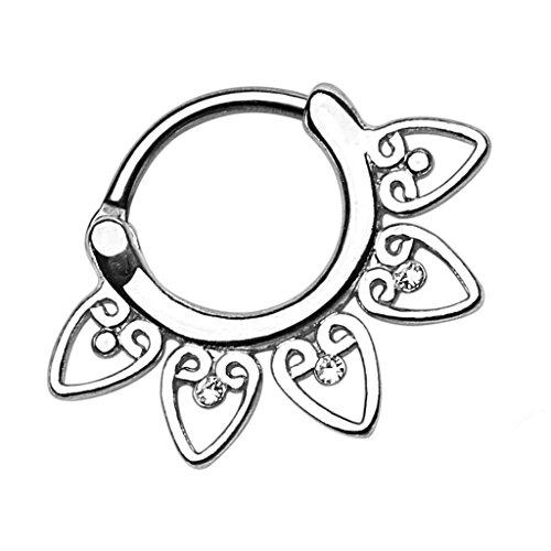Piersando Piercing Ring für Septum Tragus Helix Ohr Nase Lippe Brust Intim Nasenpiercing Ohrpiercing Clicker Tribal Fächer mit Kristallen Silber 1,6mm