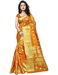 Indian Fashionista women's silk saree with blouse piece (NRPT1129J_Orange_Free Size)