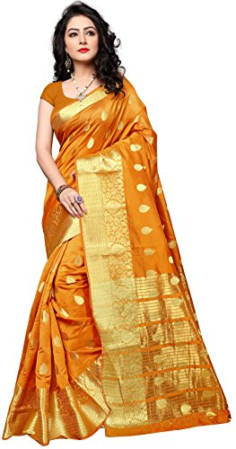 Indian Fashionista Women's Silk Embroidered Saree With Blouse Piece - NRPT1129J_Orange_Free Size