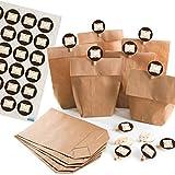 Logbuch-Verlag 12 DIY Geschenkverpackungen Papiertüten + 12 Holzklammern + 24 Vintage Aufkleber...